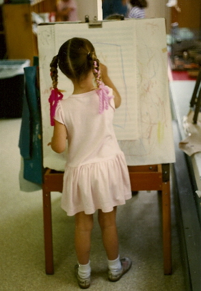 Christina at age 5: Her palette preference was a feminine pink Photo by Barbara Newhall