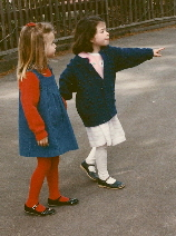 My daughter Christina and her friend Amanda at Children's Fairyland, Oakland. c 1988 B.F. Newhall
