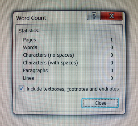The word count is zero on the writer's computer page. Photo by BF Newhall