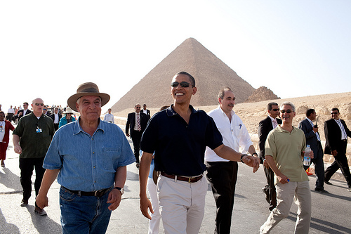 barack obama at  pyramids during 2009 cairo visit.