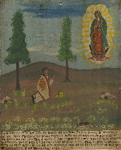 Don Fausto Perez recorded his prayer to the Virgin of Guadalupe on a small retablo picturing her appearing to him.  Photo c 2009 B.F. Newhall