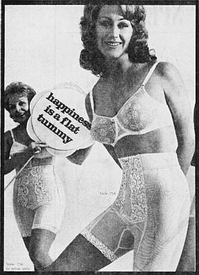 "two women wearing 1960s Spirella Sarong girdle with sign ""happiness is a flat tummy."""