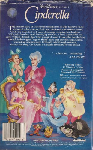 disney cinderella vhs back cover