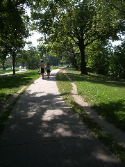 Trails for walking, running and cycling encircle a Minneapolis lake