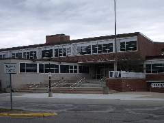 The entrance to Birmingham High School, now Seaholm, looks pretty much as it always has. Photo by BF Newhall