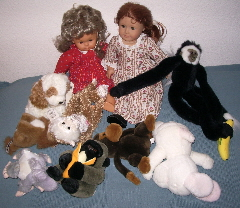 dolls and stuffed animals, Snoopy and American Girl doll. Photo by BF newhall