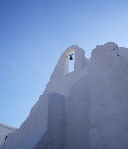 Church bell tower, whitewashed church in the Greek Islands. Photo by BF Newhall