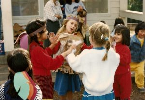 Kindergarten girls playing a hand game. Photo by BF Newhall