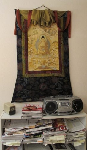 Office with bookcase and thangka from Nepal. photo by bf newhall