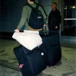 Peter at the airport with his bags 2000. Photo by Barbara Falconer Newhall