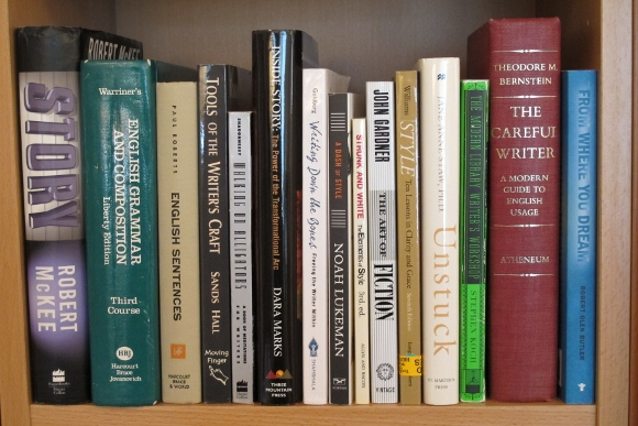 books on shelf by john gardener, sands hall, strunk and white, noah lukeman, robert mckee, theodore m bernstein, stephen koch, susan shaughnessy. Photo by Barbara Falconer Newhall