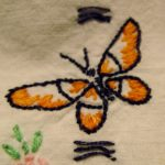 hand-embroidered-pillowcase-ca1960-butterfly. Photo by BF Newhall