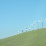 Windmills against the sky, Altamont Pass, CA. Photo by BF Newhall