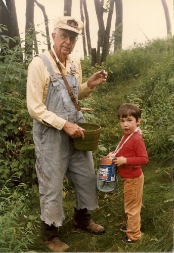 Berrypicking grandfather and grandson. Photo by BF Newhall