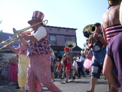 The Scottville, Michigan, Clown Band parade in Pentwater, MI. Photo by BF Newhall.