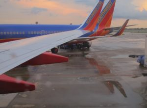 Southwest Airlines plane on the tarmack at sunset. Photo by BF Newhall