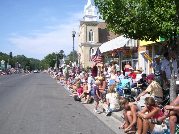 People waiting for Fourth of July parade Pentwater, MI. Photo BF Newhall