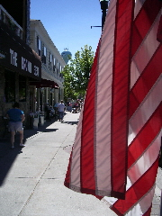 american flag flying in pentwater, MI. Photo by BF Newhall.