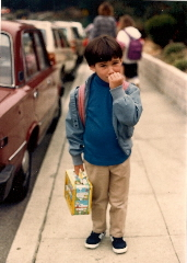 Peter, ready for his first day of kindergarten at Bentley School, September, 1986. Photo c 1986 B.F. Newhall