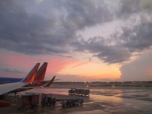 southwest airplane at gate on a rainy day. photo by BF Newhall
