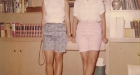 Two teenager girls in Bermuda shorts, 1950s. Photo by DG Falconer