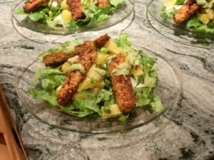 A salad of lettuce, tempeh sticks and grapefruit. Photo by BF Newhall