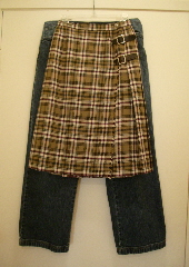 The size 12 plaid kilt with the 23-inch waist I wore in college, and the size 12 petite jeans I bought a couple of years ago. Photos c 2010 B.F. Newhall