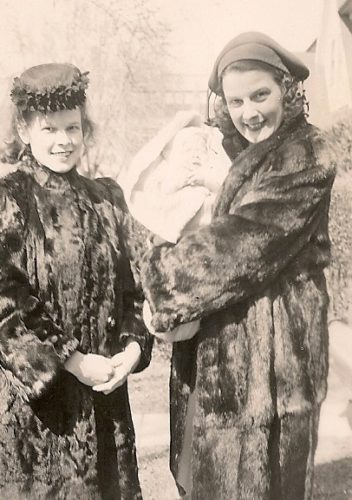 Tinka-Falconer and her mother in fur coats w son Jim1945. Photo by DB Falconer.