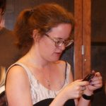 lauren winner 7-2009 with cell phone at the glen santa fe  cropped