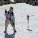 Barbara Falconer Newhall makes a snowball at Into. Photo by Al Aistrope.