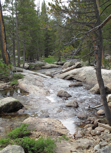 River rushes over granite rocks in Tuolumne High Country at Yosemite National Park. Photo by BF Newhall