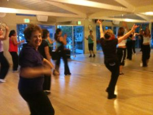 About Barbara Falconer Newhall -- at a Zumba class. Barbara Newhall photo.