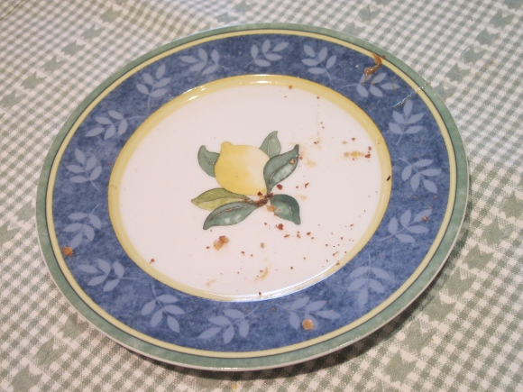An empty plate, a few crumbs of candy left. Photo 2011 by Barbara Falconer Newhall