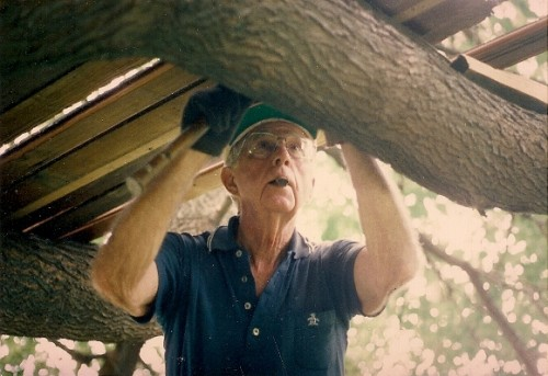 My father, D.B. Falconer, building a tree house on Lake Michigan for his grandchildren. Photo by Barbara Newhall