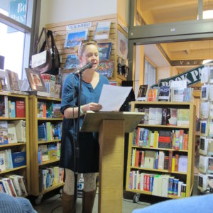 Heather Donahue at Writers Grotto reading. Photo by Barbara Falconer Newhall