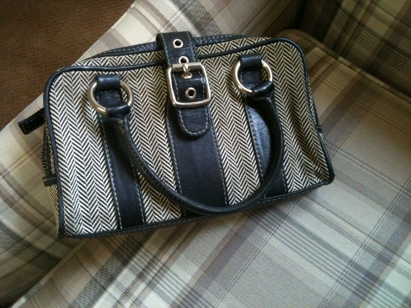 Small tweed and leather purse. Photo by BF Newhall