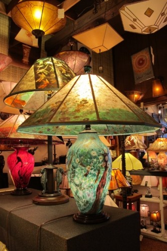 A hand-blown glass lamp by Lindsay Art Glass. Photo by BF Newhall