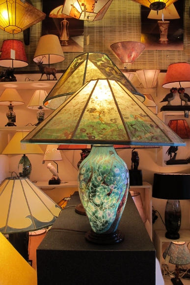 Hand-blown lamp by Lindsay Art Glass at Sue Johnson store. Photo by BF Newhall