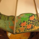 Parchment lampshade with Japanese tsuri border at Sue Johnson store. Photo by BF Newhall