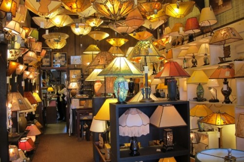 Hundreds of hand-crafted lampshades lend a soft glow to the Sue Johnson store. Photo by BF Newhall