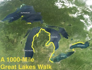 loreen niewnehuis' 2012 route along the Great Lakes. Niewenhuis graphic