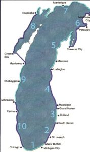 Map of Loreen Niewenhuis's walk around Lake Michigan. Niewenhuis graphic.