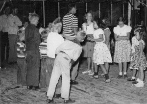 DB Falconer dances the Virginia reel with daughter Barb, Camp Morrison, MI, 1949. Photo by Tinka Falconer