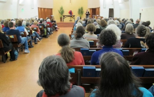 the pews of montclair presbyterian church were full for anne lamott's book reading. Photo by BF Newhall