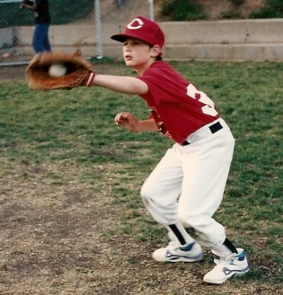 Peter Newhall makes the catch during Piedmont, CA, rec department baseball game. Photo 1991 by BF Newhall