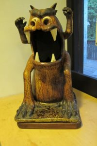 "clayton bailey stoneware ceramic, ""Fire Breathing Demon Dog."" Photo by BF Newhall"