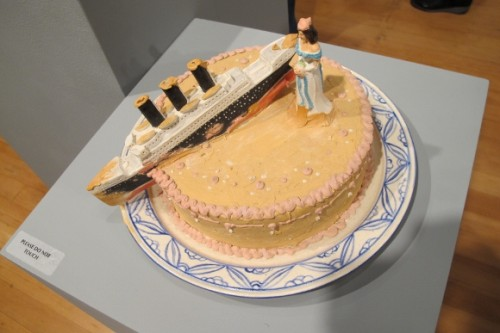 "Ceramic cake by Richard Shaw -- ""Bride and Ship, 2003."" Photo by BF Newhall"