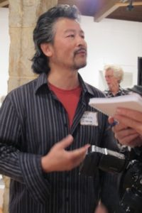 Wanxin Zhang, clay artist, at Berkeley Art Center ceramic show, Photot by BF Newhall