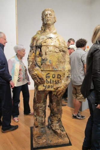 "Massive ceramic figure by Wanxin Zhang, ""God Bless You."" Photo by BF Newhall"