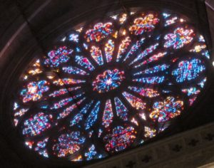 Rose window from interior of the National Cathedral, Washinton, DC. Photo by BF Newhall